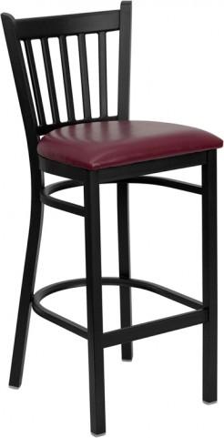 Hercules Black Vertical Back Metal Restaurant Bar Stool Burgundy Seat
