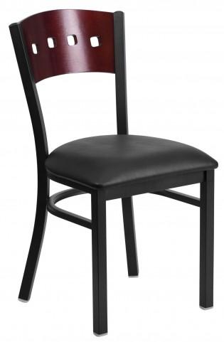 6Y1B Hercules Series Black 4 Square Back Vinyl Restaurant Chair