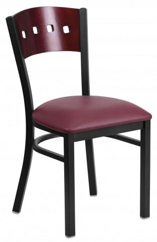 6Y1B Hercules Series Black 4 Square Back Burgundy Vinyl Restaurant Chair