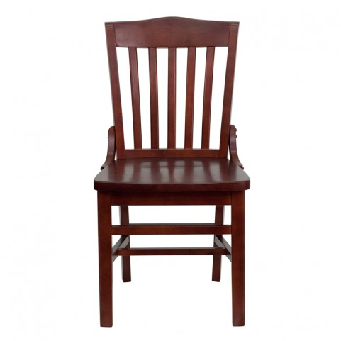 Hercules Mahogany Finished School House Back Wooden Restaurant Chair