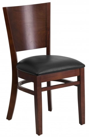 Lacey Series Solid Back Walnut Wooden Black Vinyl Restaurant Chair