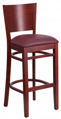 Lacey Series Solid Back Mahogany Wooden Burgundy Vinyl Restaurant Barstool