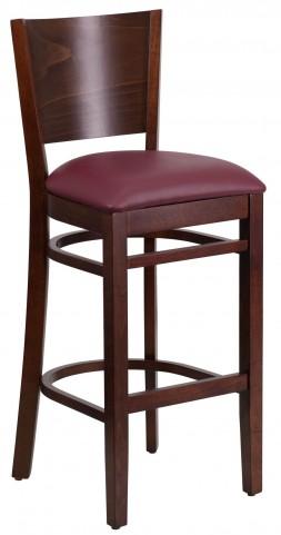 Lacey Series Solid Back Walnut Wooden Burgundy Vinyl Restaurant Barstool