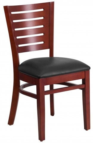 Darby Series Slat Back Mahogany Wooden Black Vinyl Restaurant Chair