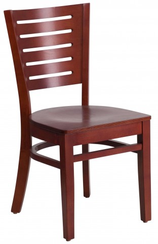 Darby Series Slat Back Mahogany Wooden Restaurant Chair