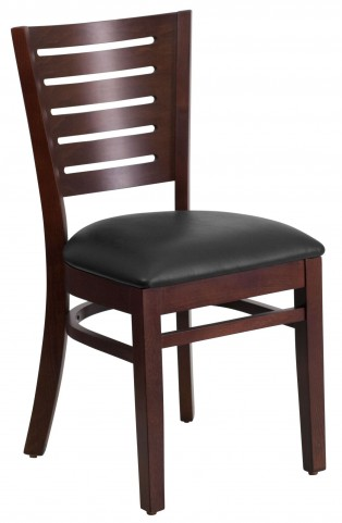Darby Series Slat Back Walnut Wooden Black Vinyl Restaurant Chair
