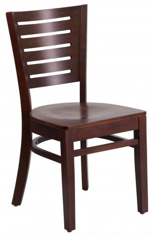 Darby Series Slat Back Walnut Wooden Restaurant Chair
