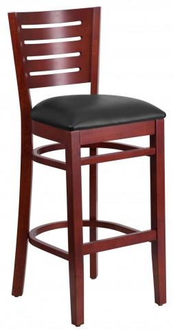 Darby Series Slat Back Mahogany Wooden Black Vinyl Restaurant Barstool