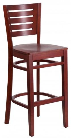 Darby Series Slat Back Mahogany Wooden Restaurant Barstool