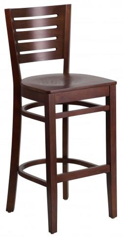 Darby Series Slat Back Walnut Wooden Restaurant Barstool