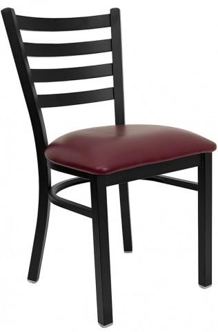 6563 Hercules Black Ladder Back Metal Restaurant Chair Burgundy Vinyl Seat