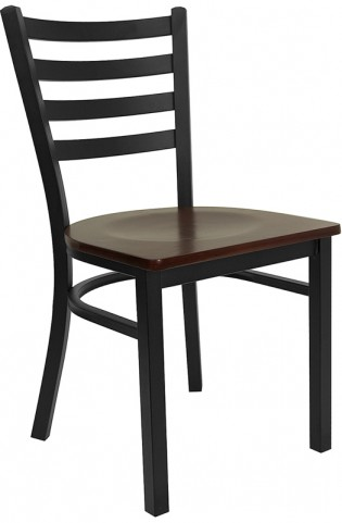 6565 Hercules Black Ladder Back Metal Restaurant Chair W/Mahogany Wood Seat