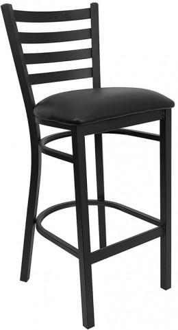 6490 Hercules Black Ladder Back Metal Restaurant Bar Stool Black Vinyl Seat