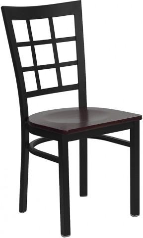Hercules Black Window Back Metal Restaurant Chair W/Mahogany Wood Seat