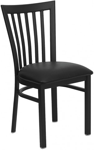 Hercules Black School House Back Metal Restaurant Chair Vinyl Seat