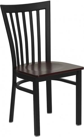 Hercules Black School House Back Metal Restaurant Chair Mahogany Seat