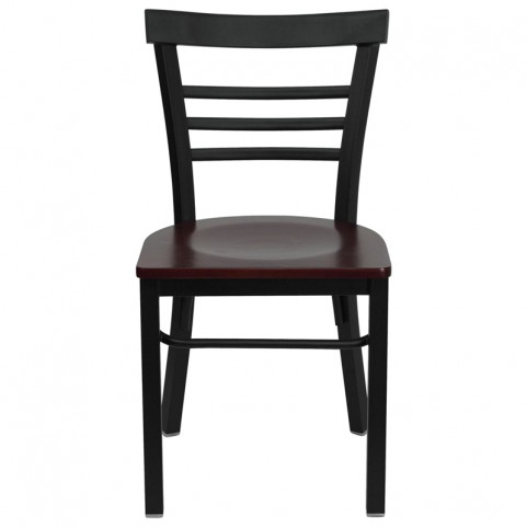 6577 Hercules Black Ladder Back Metal Restaurant Chair W/Mahogany Wood Seat