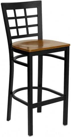 Hercules Black Window Back Metal Restaurant Bar Stool Cherry Wood Seat