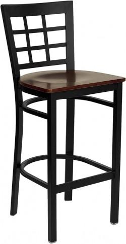 Hercules Black Window Back Metal Restaurant Bar Stool Mahogany Seat