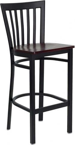 6501 Hercules Black School House Back Metal Restaurant Bar Stool
