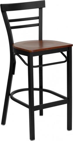 6504 Hercules Black Ladder Back Metal Restaurant Bar Stool Cherry Wood Seat