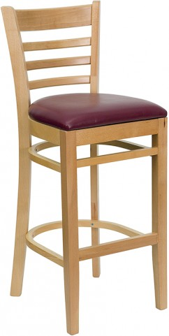 Hercules Natural Wood Finished Ladder Back Wooden Restaurant Bar Stool - Burgundy Vinyl Seat