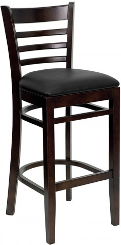 Hercules Walnut Finished Ladder Back Wooden Restaurant Bar Stool - Black Vinyl Seat