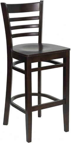 Hercules Walnut Finished Ladder Back Wooden Restaurant Bar Stool