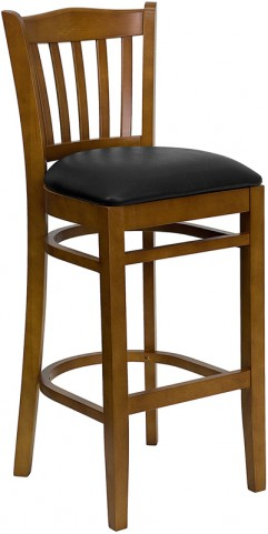 Hercules Cherry Finished Vertical Slat Back Wooden Restaurant Bar Stool - Black Vinyl Seat