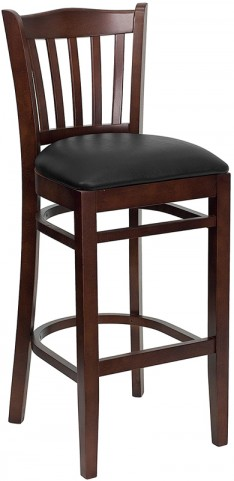 Hercules Mahogany Finished Vertical Slat Back Wooden Restaurant Bar Stool - Black Vinyl Seat