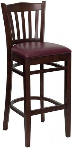 Hercules Mahogany Finished Vertical Slat Back Wooden Restaurant Bar Stool - Burgundy Vinyl Seat