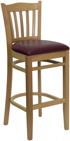 Hercules Natural Wood Finished Vertical Slat Back Wooden Restaurant Bar Stool - Burgundy Vinyl Seat