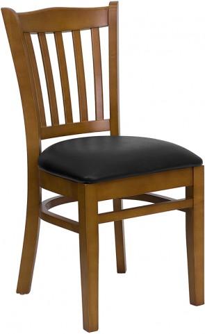 Hercules Cherry Finished Vertical Slat Back Wooden Restaurant Chair - Black Vinyl Seat