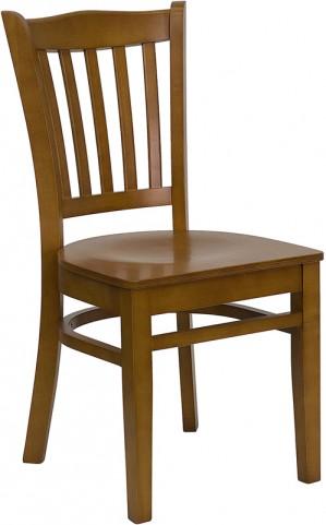 Hercules Cherry Finished Vertical Slat Back Wooden Restaurant Chair