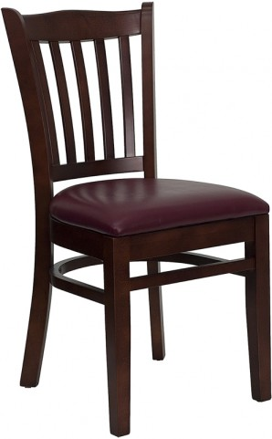 Hercules Mahogany Finished Vertical Slat Back Wooden Restaurant Chair - Burgundy Vinyl Seat