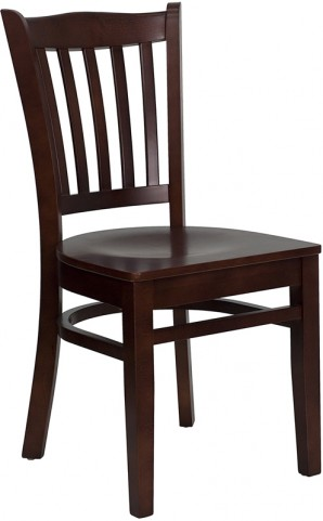 Hercules Mahogany Finished Vertical Slat Back Wooden Restaurant Chair