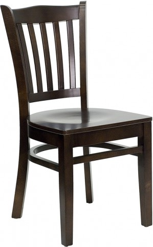 Hercules Walnut Finished Vertical Slat Back Wooden Restaurant Chair