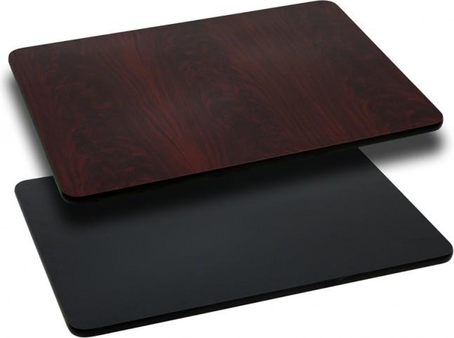 24x42 Rectangular Table Top W/ Black/Mahogany Reversible Laminate Top