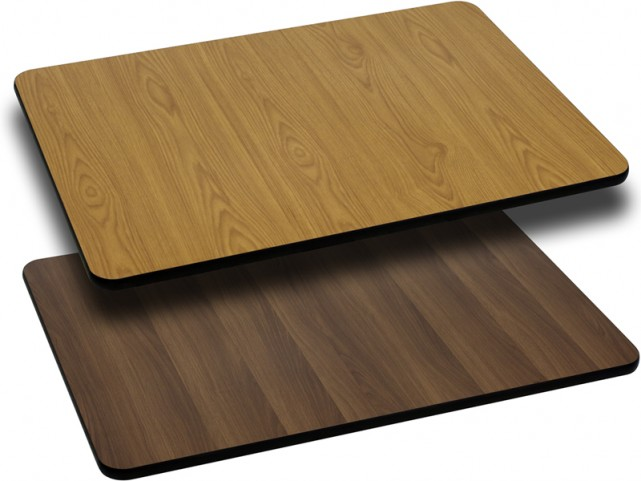 24x30 Rectangular Table Top With Natural/Walnut Reversible Laminate Top