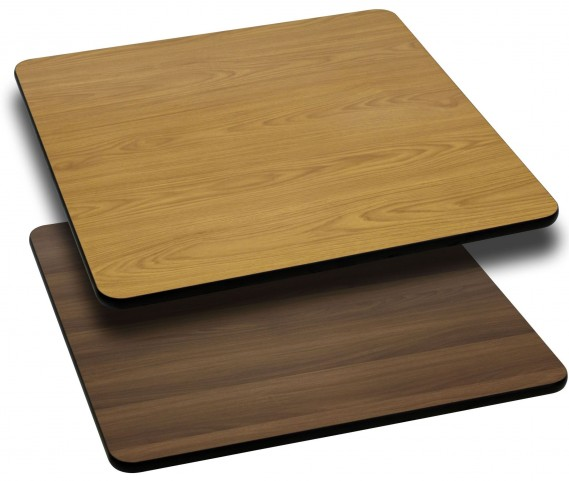 """42"""" Square Table Top with Natural or Walnut Reversible Laminate Top"""