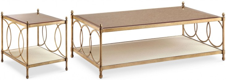 Trey Brushed Bronze Metal Rectangular Occasional Table Set