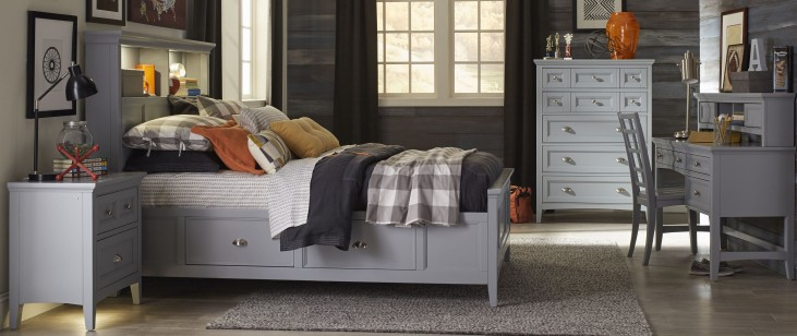 Graylyn Steel Drum Youth Two Side Storage Bookcase Bedroom Set