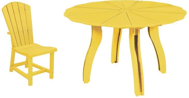 "Generations Yellow 52"" Scalloped Round Dining Room Set"