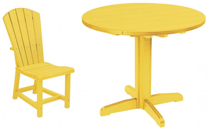 "Generations Yellow 37"" Round Pedestal Dining Room Set"