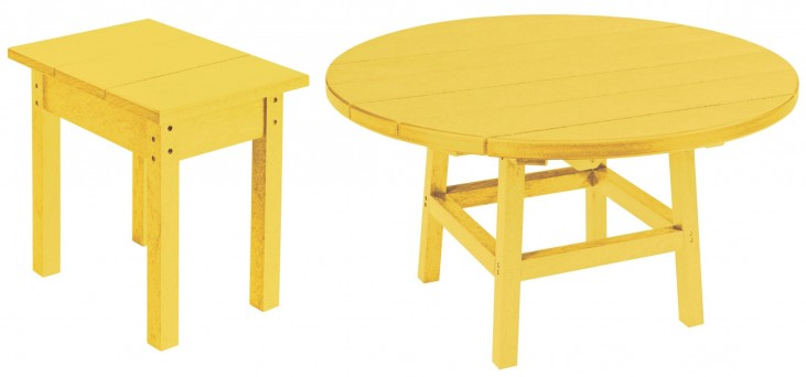 "Generations Yellow 37"" Round Occasional Table Set"