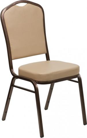 Hercules Series Crown Back Stacking Tan Vinyl Banquet Chair