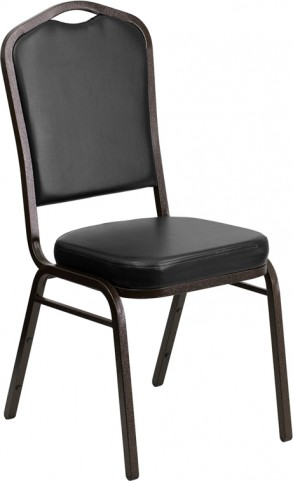 Hercules Series Crown Back Stacking Black Vinyl Banquet Chair