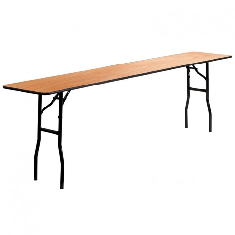 Rectangular Wood Folding Smooth Clear Coated Seminar Table