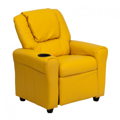 Yellow Vinyl Kids Recliner with Cup Holder and Headrest