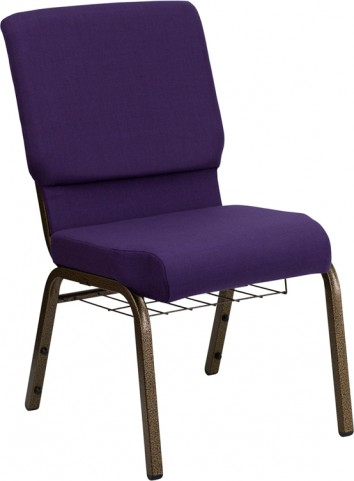 "Hercules Series 18.5"" Wide Royal Purple Fabric Church Chair"